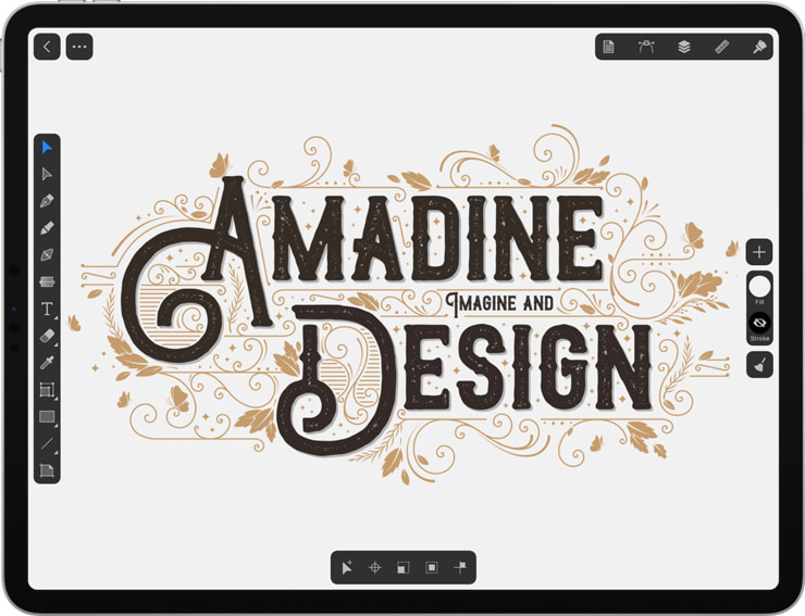 Amadine app on an iPad with Text illustration