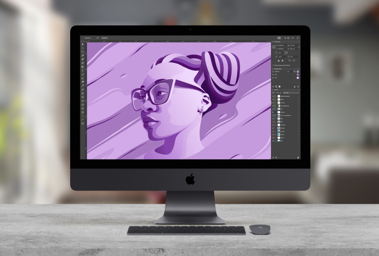 A Mac with Amadine interface and an illustration in it