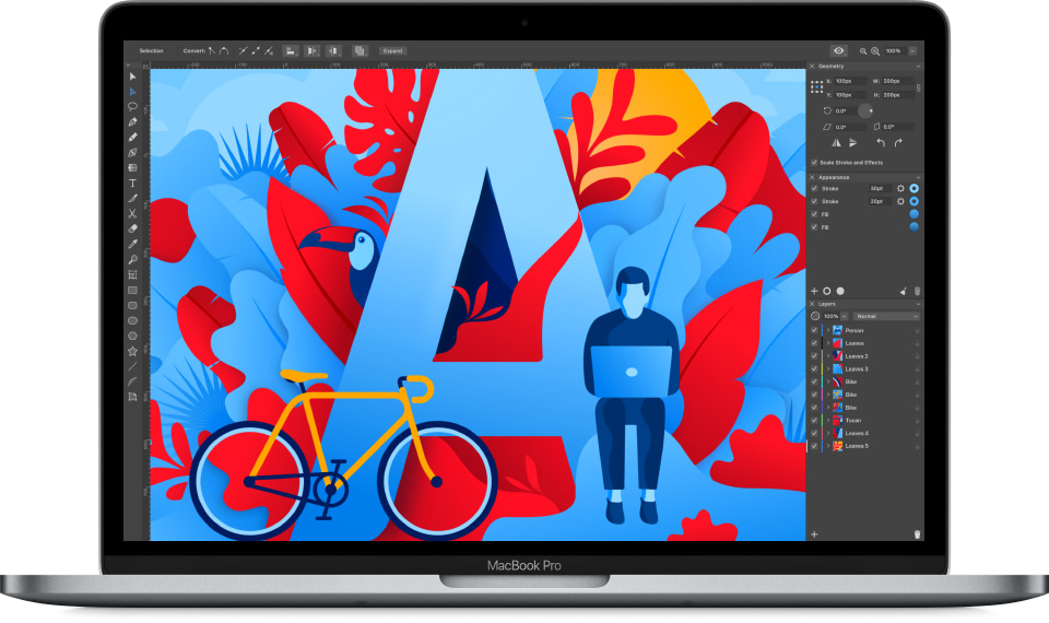 Mac Book with Amadine interface and illustration