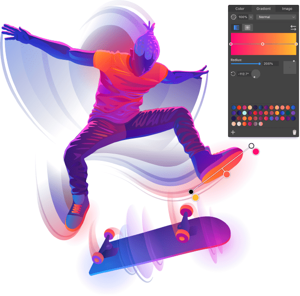 Gradient art with interface